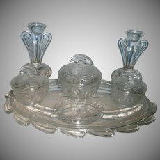 Bagley  Art Deco British Glass Dresser Set
