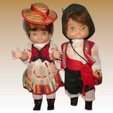 Vintage 1970's Tenerife Set of Boy/Girl Dolls
