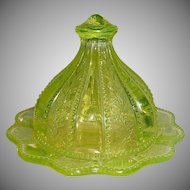 Uranium Glass Cheese Covered Dish