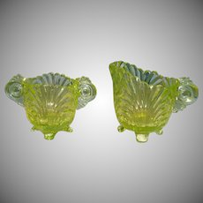 Vintage Uranium Glass Sugar and Creamer Dish