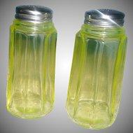 Vintage Tall Uranium Glass Shakers