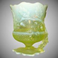 Acorn Shaped  Uranium Glass Spoon Rest