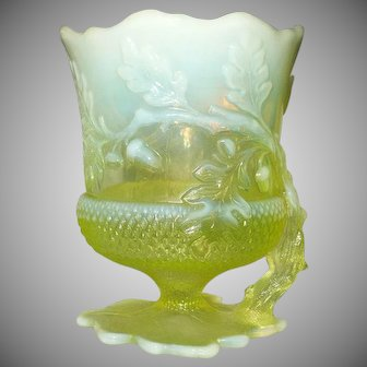 Acorn Shaped  Uranium Glass Spoon Rest