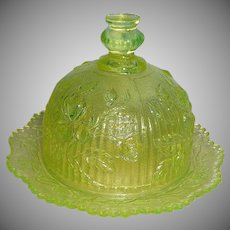 Beautiful Uranium Glass Butter or Cheese Dish