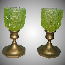 Baldwin Bronze VIntage Uranium Glass Candle Holders