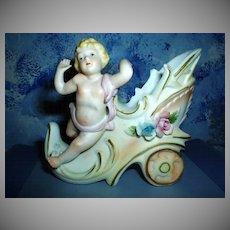 Beautiful Bisque Cherub Figurine