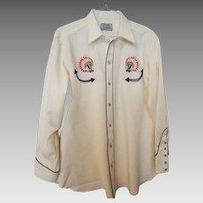 Vintage H Bar C Western Rockabilly Men's Shirt 16 1/2 L
