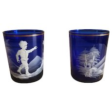Set of 2 Antique Victorian Mary Gregory Cobalt Glass Cups