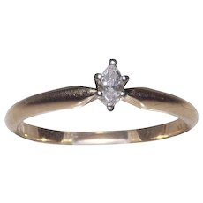 14 kt  Yellow Gold 1/10  Marquise Cut Diamond Solitaire Size 7.5