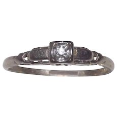 Vintage 14 Kt White Gold Diamond Solitaire Ring