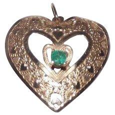 Sweet 14 Kt Yellow Gold & Natural Emerald Heart Pendant
