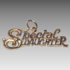 """Sweet """"Special Daughter"""" 14 Kt Yellow Gold Pendant"""