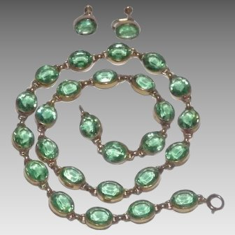 W.E. Richards 12 Kt Gold Filled Green Glass Necklace & Earrings Set