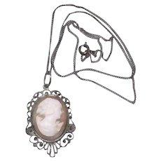 Vintage Sterling Silver & Real Shell Carved Cameo Necklace / Pendant