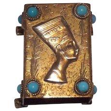 Interesting Egyptian Revival Queen Nefertiti Match Box  / Safe With Turquoise Cabochons