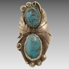 Sterling Silver Turquoise Double Stone Ring Size 6.5