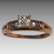 Lovely 10Kt Yellow Gold Diamond Engagement / Cluster Ring