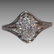 Stunning 14 Kt White Gold Diamond Cluster Ring