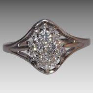 Stunning 14 Kt White Gold Diamond Cluster Ring