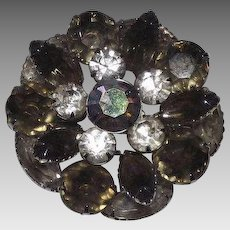 Vintage Gray and Clear Rhinestone Brooch