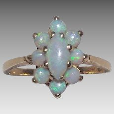 Gorgeous 14 Kt Yellow Gold &  Opals Cocktail Ring
