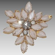 Gorgeous White Rhinestone Bi Color Brooch Gold Tone