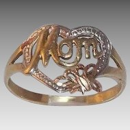 Sweet 10 Kt Rose, Yellow & White Gold Mom Ring With Heart