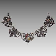 Reverse Carved Silver Tone Panels Necklace Grapes & Flowers