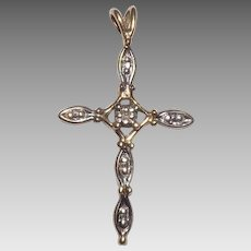 Lovely 10 Kt Yellow Gold & Diamond Accent Cross Pendant