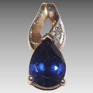 Dainty 10 Kt Yellow Gold Blue Sapphire and Diamond Pendant