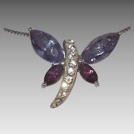Stunning Sterling Silver Clear & Purple Glass Stones Dragonfly pendant On Sterling Silver Chain