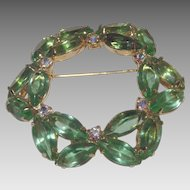 Wonderful Vibrant Green and Aurora Borealis Rhinestones Brooch