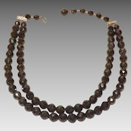 Lovely Deep Dark Gray Laguna Faceted Glass Beads Double Strand Necklace