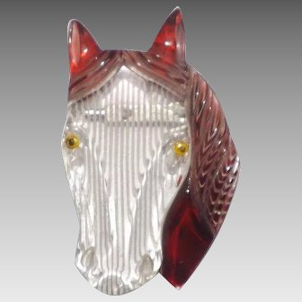 Large Carved Lucite Horse Head Brooch