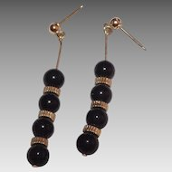 14 Kt Yellow Gold & Black Onyx Dangle Earrings