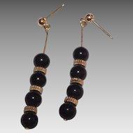 14 Kt Yellow Gold & Black Onyx Dangle Earrings
