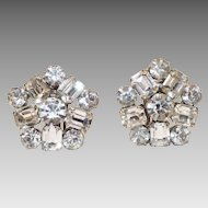 "Sparkling Weiss Rhinestone clip On Earrings 1"" Diameter"