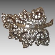 Lovely Art Deco Rhinestones Swirling Leaf Brooch - Rhodium Plated