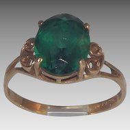 10 Kt Yellow Gold Lab Created Emerald Ring