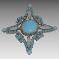 Simulated Turquoise and Milky Colored Navettes Brooch
