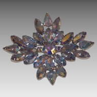 Amazing Blue Aurora Borealis Navettes Brooch  - Curved