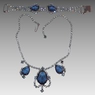 Blue Open Back Rhinestone Rhodium Plated necklace and Bracelet Demi Parure