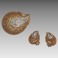Paisley Gold Tone and Clear Rhinestones Brooch and Clip On Earrings Set