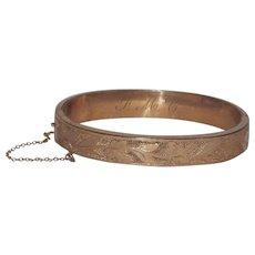 Pretty Gold Filled Leaves Etched Bangle Bracelet