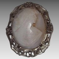 Sterling Silver Carved Shell Cameo Brooch
