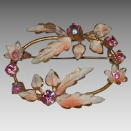 Beautiful Austria Pink Aurora Borealis Rhinestones and Enamel Flowers & Leaves Brooch