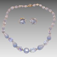 Sweet Faceted Glass & Moon glow Blue Plastic Beads Necklace & Earrings Set