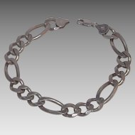 Heavy Sterling Silver Figaro Chain Bracelet For Man