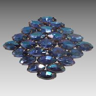 Gorgeous Diamond Shaped Blue Rhinestone brooch Marquis Cut Stones