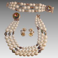 Exquisite Laguna Faux Pearls Aurora Borealis Demi Parure With Original Box And Receipt Rare Find